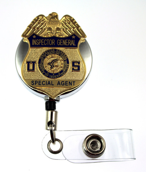 Health and Human Services, Office of Inspector General Special Agent Mini Badge ID Reel - Chrome
