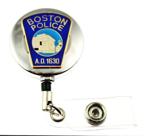 Boston Police Department Mini Patch ID Holder with a chrome tone ID reel