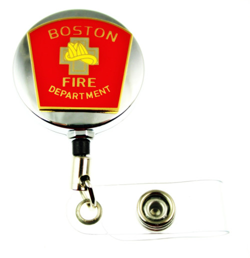 Boston Fire Department Mini Patch ID Holder with a chrome tone ID reel