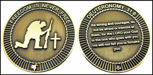 Military Kneeling Soldier Challenge Coin