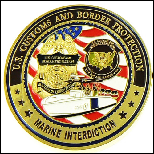 CBP Air and Marine Operations Marine Interdiction Challenge Coin - Front