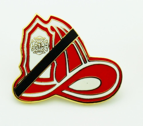 Firefighters Mourning Helmet Lapel Pin