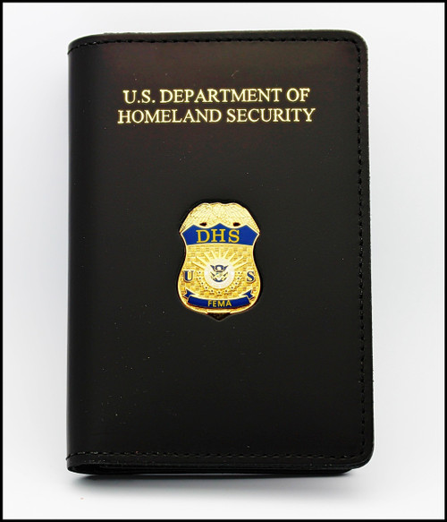 Federal Emergency Management (FEMA) Duty Leather ID Credential Case with DHS embossing