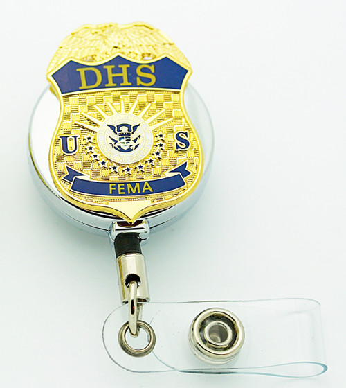DHS Federal Emergency Management Administration (FEMA) Retractable Mini Badge ID badge holder in chrome