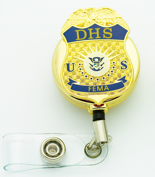 DHS Federal Emergency Management Administration (FEMA) Retractable Mini Badge ID badge holder in gold