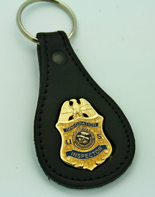 Legacy Immigration and Naturalization Service Inspector Mini Badge Leather Key Ring
