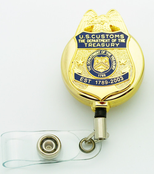 "Legacy U.S. Customs Service 1.5"" Mini Badge Lapel Pin Retractable ID Holder"