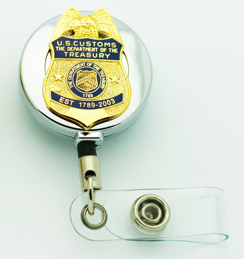 "LegacyLegacy U.S. Customs Service 1.25"" Mini Badge Lapel Pin Retractable ID Holder"