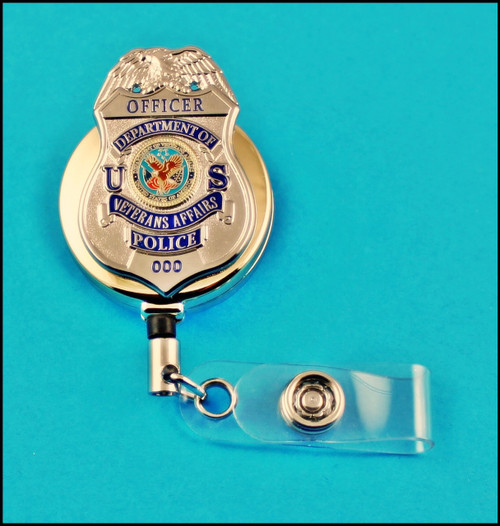 Veterans Affairs Police Officer Mini Badge Gold ID Reel Badge Holder