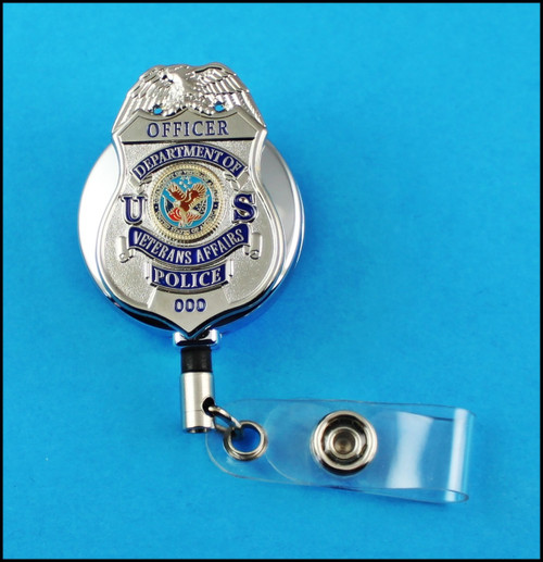 Veterans Affairs Police Officer ID Reel Badge Holder in Chrome