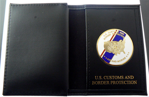 Office of Air and Marine Flag Medallion Credential Case with Gold Embossing