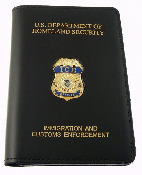 Immigration and Customs Enforcement Officer Leather Credential Case with Mini Badge and Embossing