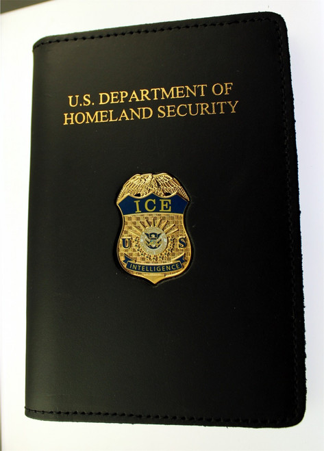 Immigration and Customs Enforcement Intelligence Credential Case with an ICE Intelligence Mini Badge Lapel Pin
