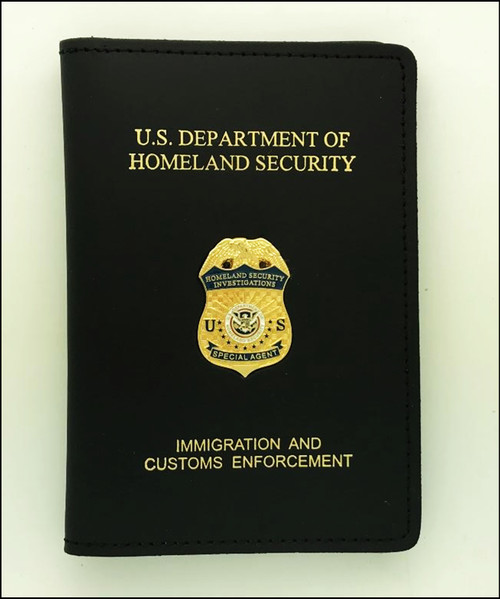 ICE Homeland Security Investigation Special Agent Credential Case with Mini Badge and Embossing