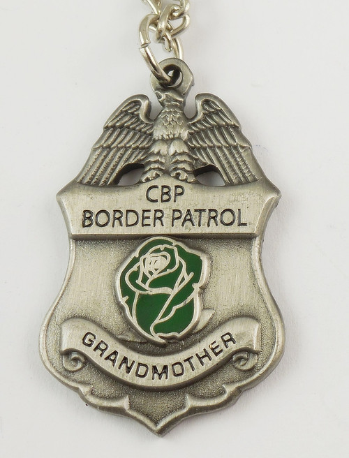 "U.S. Border Patrol Agent's ""Grandmother"" Mini Badge and Rose Necklace - Antique Silver"