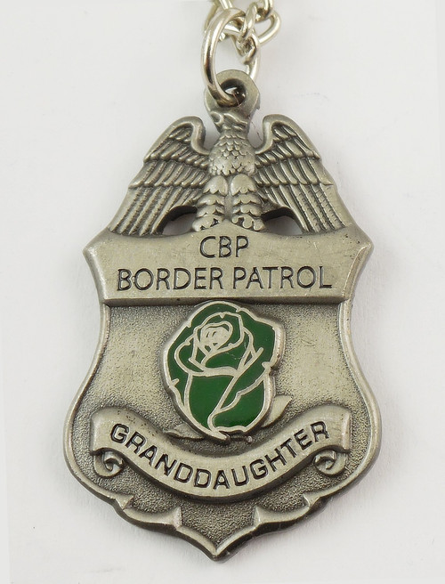 "U.S. Border Patrol Agent's ""Granddaughter"" Mini Badge and Rose Necklace - Antique Silver"
