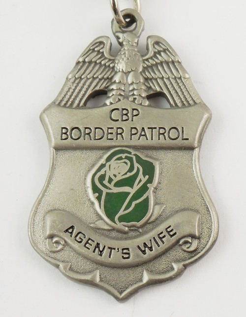 "U.S. Border Patrol Agent's ""Wife"" Mini Badge and Rose Necklace - Antique Silver"