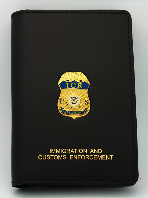 Immigration and Customs Enforcement Special Intelligence Credential Case, Gold Embossed and affixed with an ICE Intelliegence Mini Badge Lapel Pin