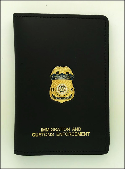 Immigration and Customs Enforcement Special Homeland Security Investigation Credential Case, Gold Embossed and affixed with an ICE HSI Mini Badge Lapel Pin