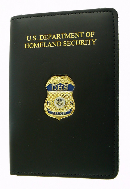 Department of Homeland Security Officer Duty Leather Credential Case with Mini Officer Badge Pin