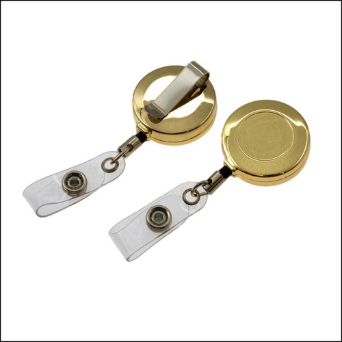 Gold ID Reel Badge Holder