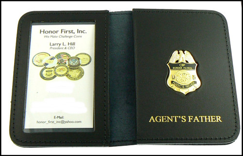 US Border Patrol Agent's Father Mini Badge ID Card Holder Case with Agent's Father Embossing