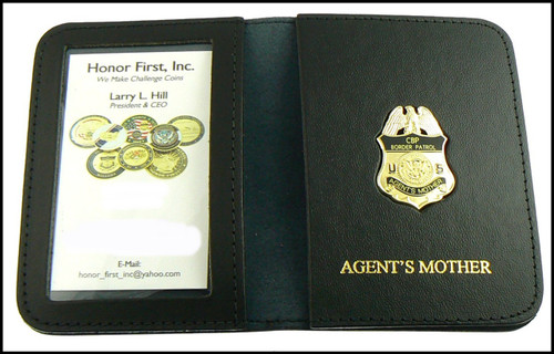 US Border Patrol Agent's Mother Mini Badge ID Card Holder Case with Agent's Mother Embossing