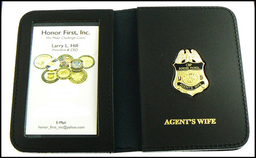 US Border Patrol Agent's Wife Mini Badge ID Card Holder Case with Agent's Wife Embosing