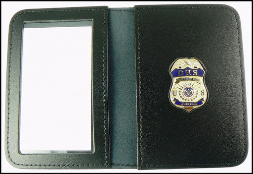 DHS Federal Protective Service Police Mini Badge Leather ID Wallet