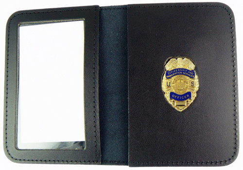 Citizenship & Immigration Services Officer Mini Badge Embossed Leather ID Wallet