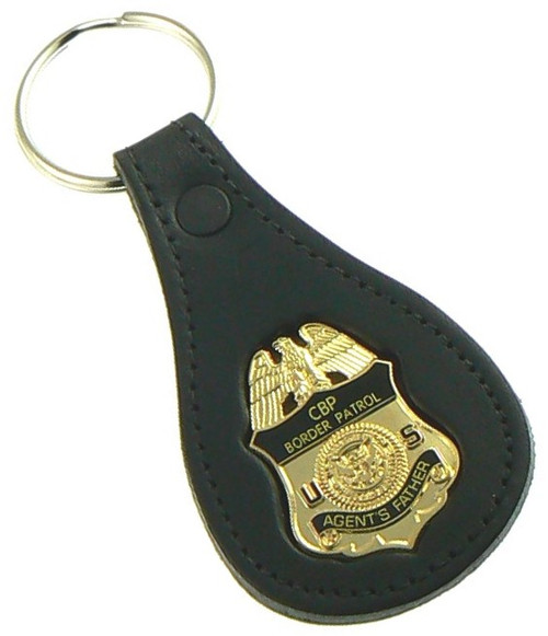 "U.S. Border Patrol Agent ""Agents Father"" Mini Badge Leather Key Ring"