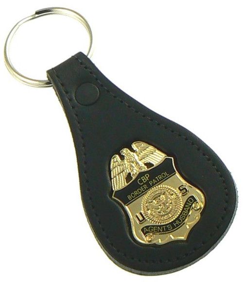 "U.S. Border Patrol Agent ""Agents Husband"" Mini Badge Leather Key Ring"