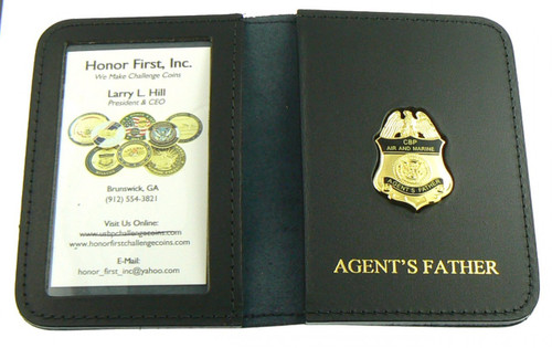 Embossed Air and Marine Operations Agent's Father Mini Badge ID Wallet
