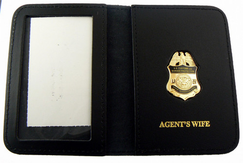 "CBP Marine Interdiction ""Agent's Wife"" Embossed ID Wallet with Marine Agent Mini Badge Lapel Pin"