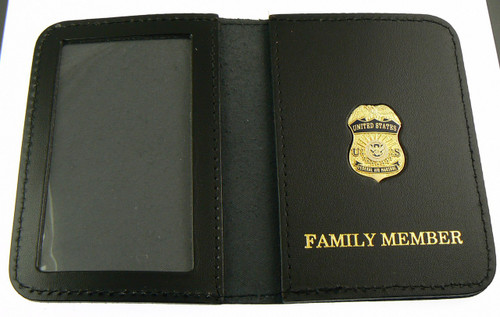 Federal Air Marshal Mini Badge w/ Family Member Embossed Leather ID Wallet