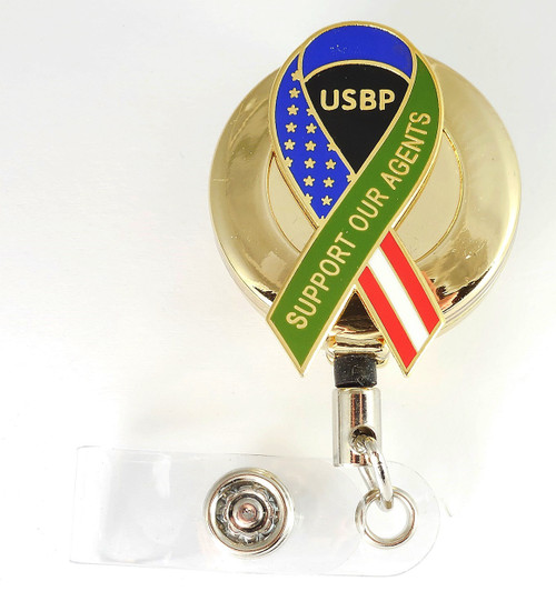 "Gold U.S. Border Patrol ""Support Our Agent's"" Ribbon Retractable ID Reel"