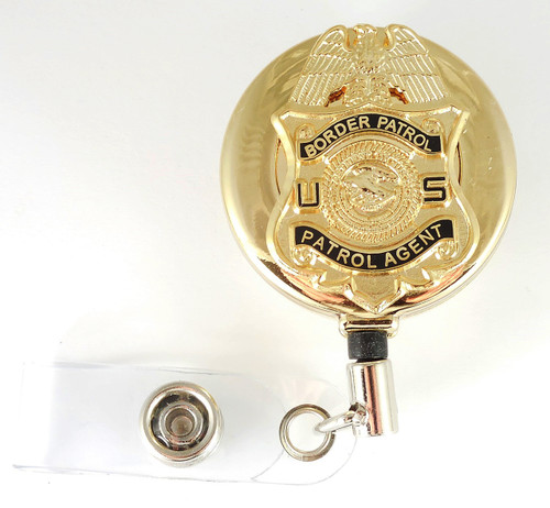 "Gold Legacy U.S. Border Patrol Agent 1.5"" Mini Badge Retractable ID Reel"