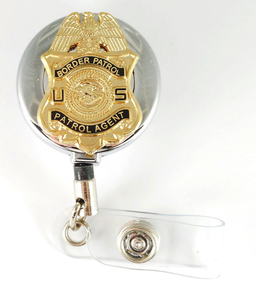 "Chrome Legacy U.S. Border Patrol Agent 1.5"" Mini Badge Retractable ID Reel"
