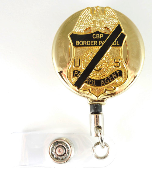 Gold U.S. Border Patrol Agent Mini Mourning Badge Retractable ID Reel