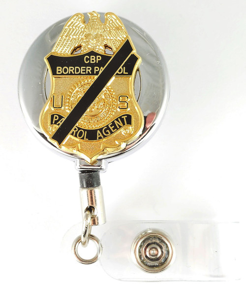 Chrome U.S. Border Patrol Agent Mini Mourning Badge Retractable ID Reel