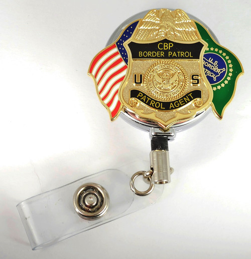 Chrome U.S. Border Patrol Agent Mini Badge and Flags Retractable ID Reel