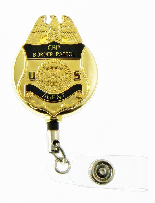 "Gold U.S. Border Patrol Agent 1.5"" Mini Badge Retractable ID Reel"