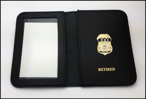 """DHS Federal Protective Service Police 1.25"""" Mini Badge ID Case w/Retired Embossing"""