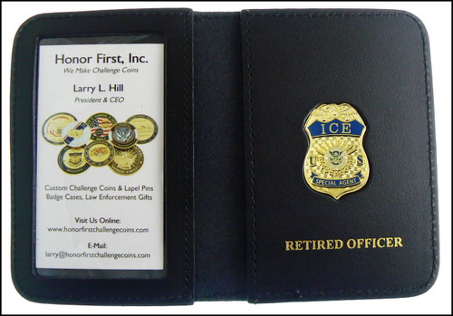 Immigration and Customs Enforcement Special Agent Mini Badge ID Wallet with Retired Officer Embossing