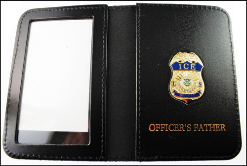 Immigration and Customs Enforcement Officer Mini Badge ID Wallet with Officer's Father Embossing