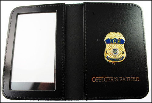 Immigration and Customs Enforcement Intelligence Officer Mini Badge ID Wallet with Officer's Father Embossing