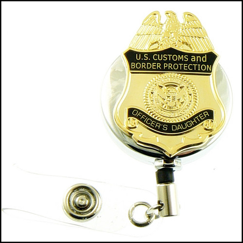 Customs and Border Protection Officers Daughter Mini Badge ID Holder Reels