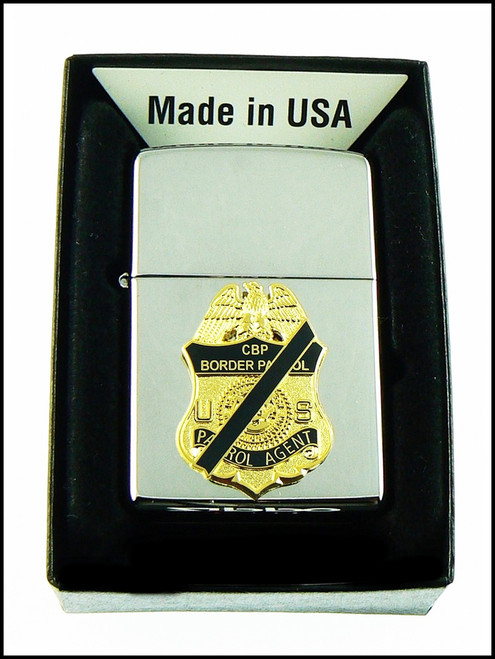 US Border Patrol Chrome Cigarette Lighter with Your Choice of Mini Badge or Patch affixed to the front