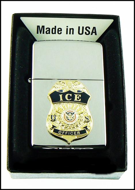 ICE Chrome Cigarette Lighter with an ICE Officer Mini Badge
