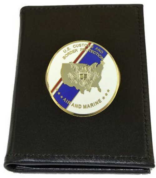 Office of Air and Marine Leather Badge and Credential Case with Flag Medallion